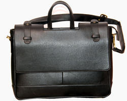 Corporate Gift Black Leatherette Laptop Flap Design Bag