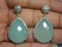 Aqua Chalcedony Pave CZ Set Gemstone Earrings