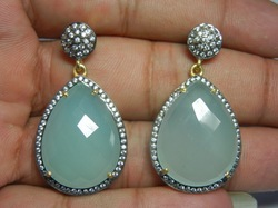 Aqua Chalcedony Pave CZ Set Gemstone Earrings