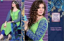 Embroidered Cotton Suit With Chiffon Digital Print Dupatta