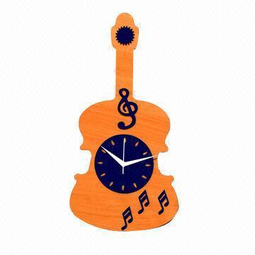 Guitar Design Wooden Wall Clock