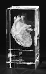 3D Human Heart Engraved inside Crystal Cube