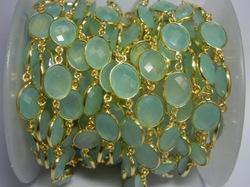 Aqua Chalcedony Gemstone Bezel Connectors Chain