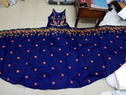 Red Blue Brown Cotton Dress, 25 To 40