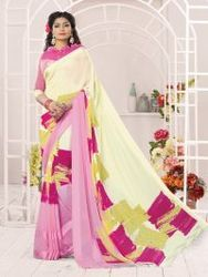 Cream , Pink, Fancy Designer Saree