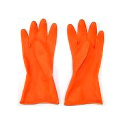 Washable Orange Industrial Rubber Hand Gloves, Model Name/Number: Diamond