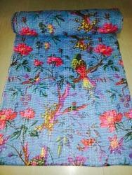 Handmade Bird Print Kantha Quilt