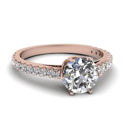 1.00Cts Diamond Rose Gold Engagement Ring in 14k Gold