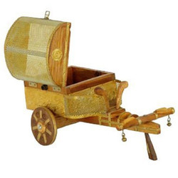 Wooden Crafted Cart Show Piece