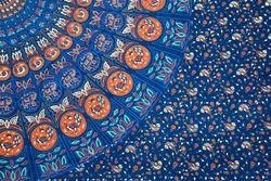 Regular Wear Blue Hand Block Painted Dress Material