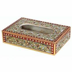Meenakari Marble Napkin Box, Mb124