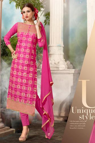 d77fd4326a Fancy Pink Embroidery Cotton Suit at Rs 570 /piece | सूती ...