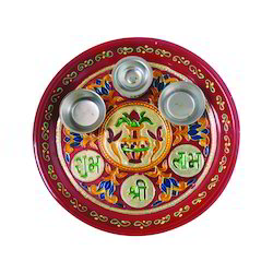 Antique White Metal Painting Pooja Thali