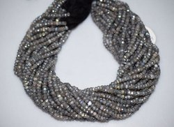 Labradorite AB Silver Coated Rondelle Beads Strand