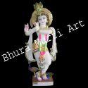 Painted Krishna White Marble Statue