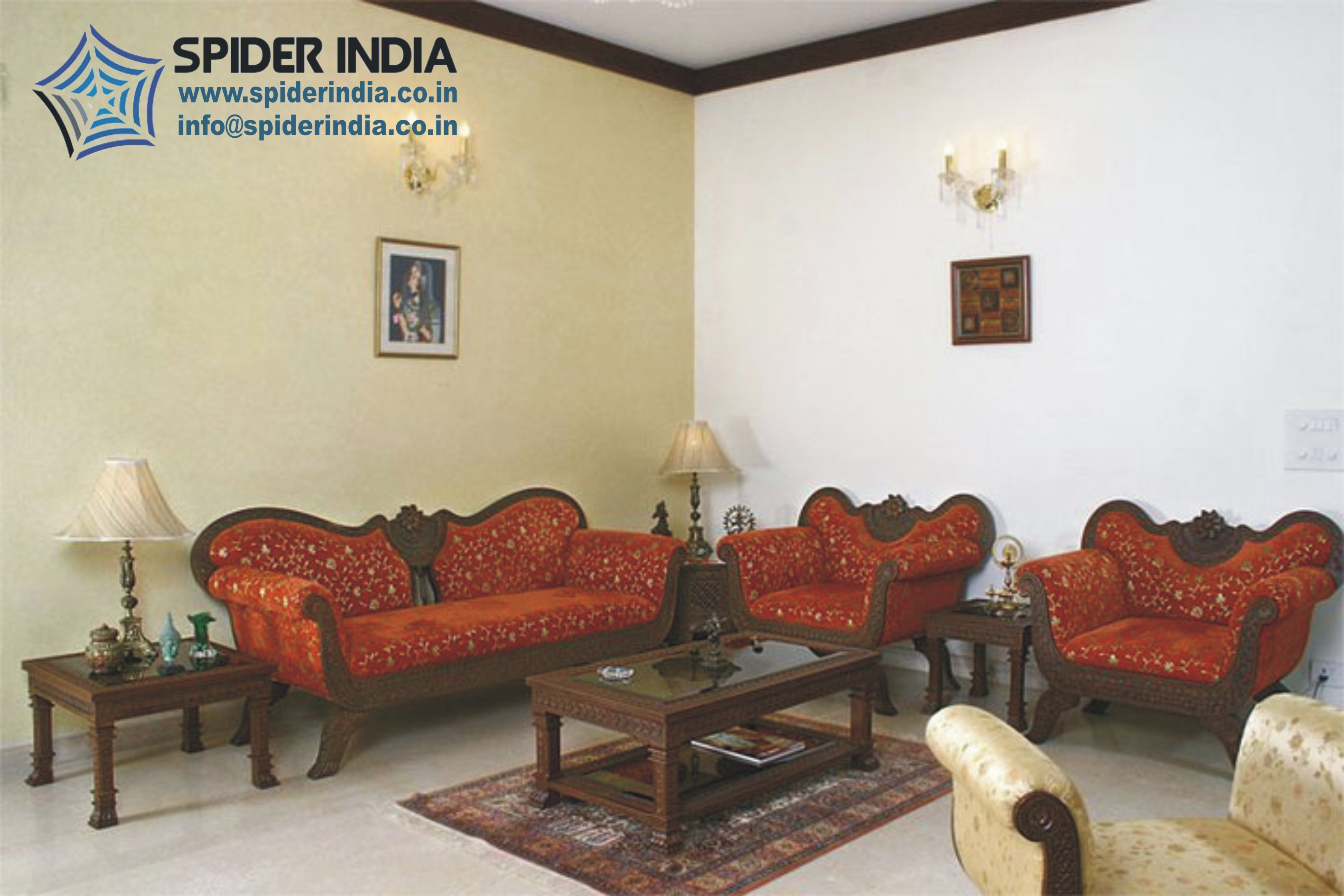 Brown Teak Wood Fine Rajasthani Carved Sofa Set Rs 125000 Set Spider India Id 10983175573