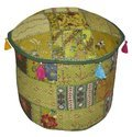 Indian Vintage Ottoman Pouf Cover ,Patchwork Ottoman Cover