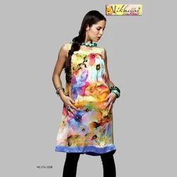 Georgette Shaded Floral Digital Printed Long Kurti, Size: S, M & L