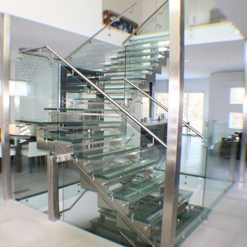 Staircase Glass Railing Designs: Bar Stainless Steel And Glass Railing, Vishwas Steel Works