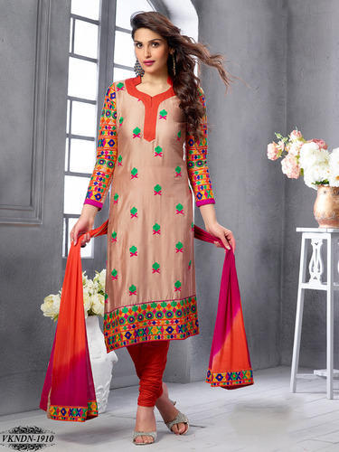 172950500e A-Line Chanderi Cotton Embroidery Semi Stitched Salwar Suit, Rs 950 ...