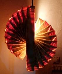 Enigmatic Oval Wooden Hanging Lamp
