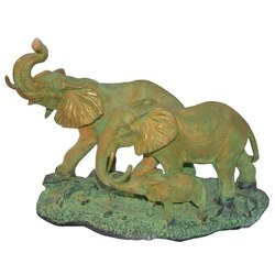 大象家族金属黄铜动物雕塑