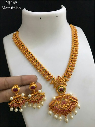 Gold Traditional Long Haram Necklace Set