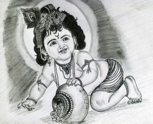 Pencil sketch lord krishna
