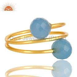 Blue Chalcedony Gold Plated 925 Silver Spiral Ring Jewelry