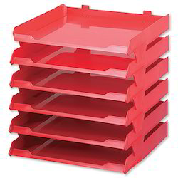 Plastic Red Office Stationery Tray, 5 Mm, Box