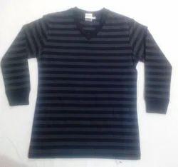 Striper Black Grey Mens Long Sleeve T Shirt