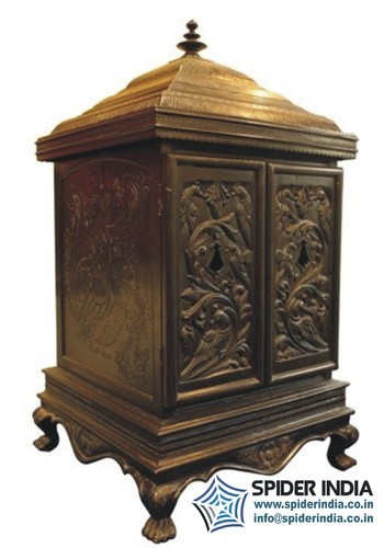 plain wooden temple with cabinet stars