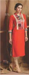 Printed Cotton SK-1616 Ladies Orange Kurti