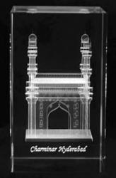3D Laser Engraving Charminar Crystal Cube