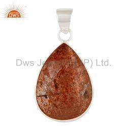 Sun Stone Natural Sterling Silver Pendant Jewelry