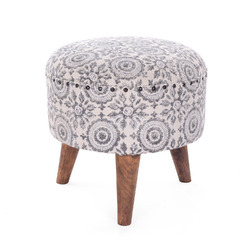 Stylish Printed Round Wooden Stool