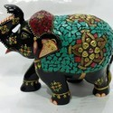 700-800 gm Wooden Painted Elephant Statue