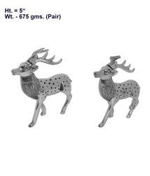 White Metal Deer Pair Statues