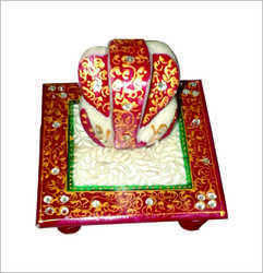 Marble Colored Ganesh Chowki