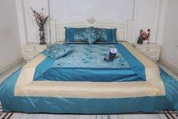Blue Double Silk Dupion Bed Sheet, Size: 90x108 Inch