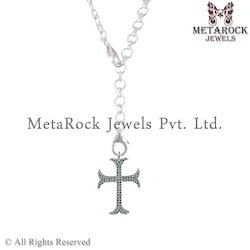 Cross Designer Initial Gemstone Chain Necklace Silver Neckla