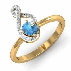 Blue Stone Gold Diamonds Ring