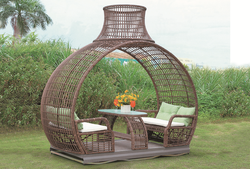 Cane Style Outdoor Wicker Garden Double Swing