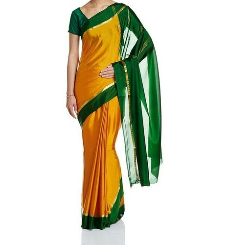 8b8addd2c87b64 Mustard Contrast Green Colour Festive Wear Mysore Silk Sarees