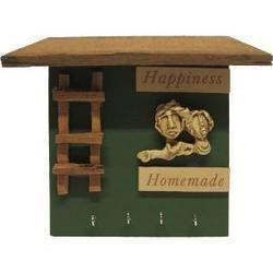 Wooden 3d Home Shape Key Holder