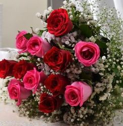 Pink And Red Roses Bunch