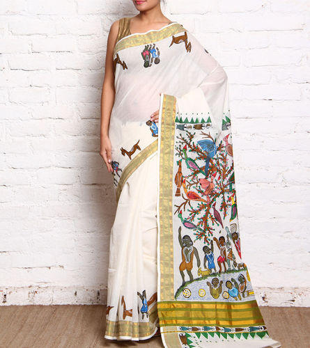 e7511f7db5 Off White Free Hand Painted Kerala Cotton Sarees, Rs 3750 /piece ...