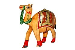 Wooden Camel Painting Statue