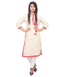 White Cotton Embroidered Kurti