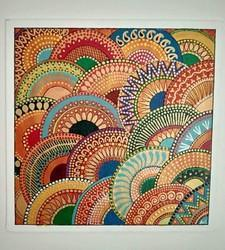 Hand Painted Multicolored Dot Painting, Size: 12x12